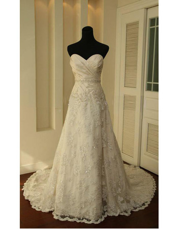 New Style Elegant and Fashionable A-Line Sweetheart Court train Satin Lace Beading  Dress for Bride/Bridal Gown