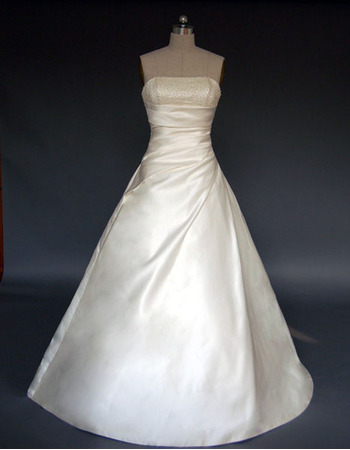 New Style Charming and Fashionable A-Line Strapless Court train Satin Beading Dress for Bride/Bridal Gown