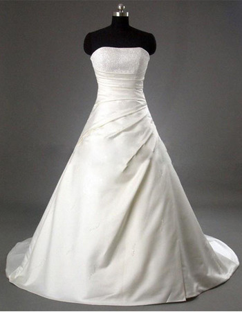 New Style Simple but Elegant A-Line Strapless Court train Satin Beading Dress for Bride/Bridal Gown
