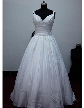 New Style Simple but Elegant A-Line Sweetheart Court train Satin Taffeta Dress for Bride/Bridal Gown