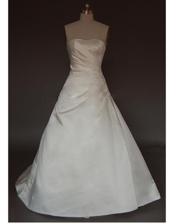 New Style Stunning and Elegant A-Line Strapless Court train Satin Lace Beading Embroidered Dress for Bride/Bridal Gown