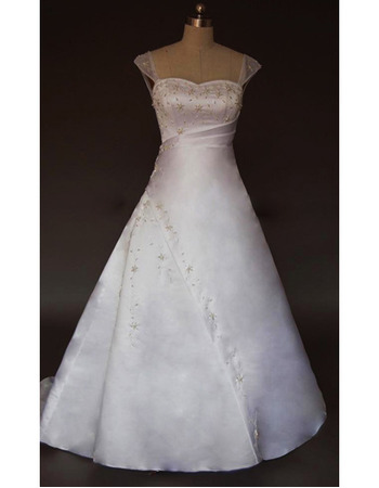 New Style Simple but Elegant A-Line Shoulder-Strap Court train Satin Beading Dress for Bride/Bridal Gown