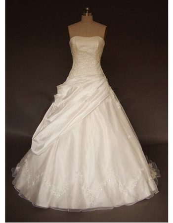 Elegant Exquisite Ball-Gown Strapless Court train Satin Taffeta Lace Embroidered Dress for Bride/Bridal Gown