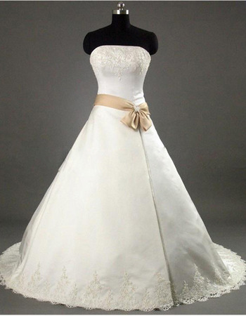 Elegant A-Line Strapless Court train Satin Beading Lace Embroidered with Bow Girdle Wedding Dress
