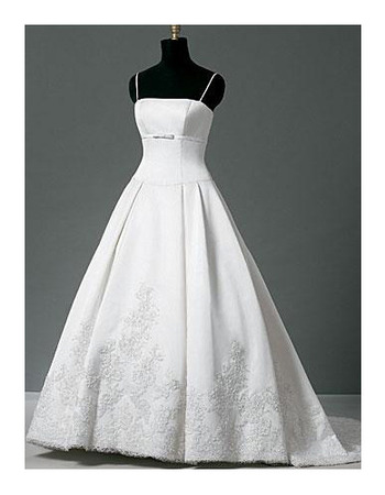 Affordable Elegant A-Line Court train Satin Lace Wedding Dress