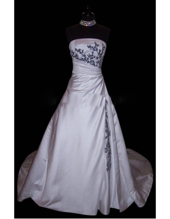 Custom Elegant and Exquisite A-Line Strapless Court train Satin Embroider Beading Dress for Bride/Bridal Gown