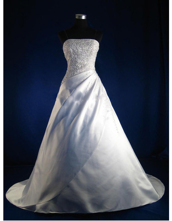 Custom Elegant and Exquisite A-Line Strapless Chapel Satin Beading Wedding Dresses