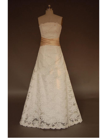 Elegant Lace A-Line Strapless Floor Length Wedding Dresses with Sashes