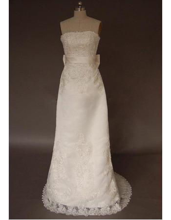 Custom Vintage Organza Sweep Train Strapless Sheath Wedding Dresses