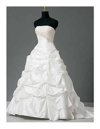 New Style Fashionable and Exquisite Ball-Gown Strapless Court train Satin Taffeta Lace Dress for Bride/Bridal Gown