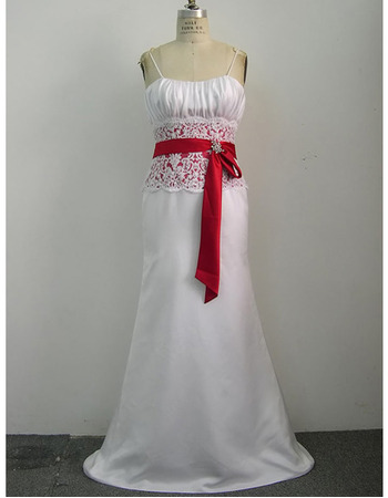 New Style Fashionable and Exquisite Sheath Shoulder-Strap Court train Satin Beading Lace Dress for Bride/Bridal Gown