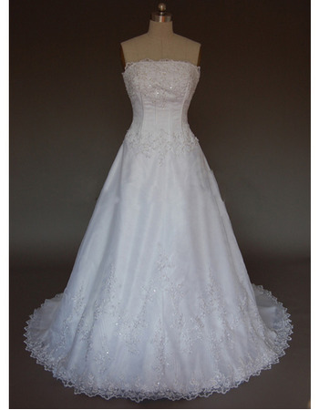 Ladylike and Exquisite A-Line Strapless Court train Satin Organza Lace Dress for Bride