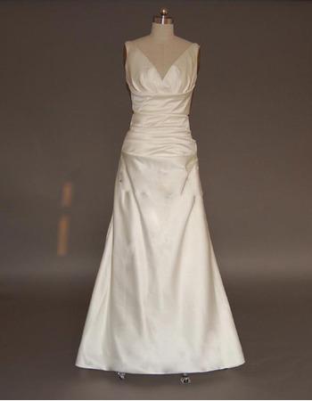 Vintage Simple Sheath V-Neck Court train Satin Dress/Bridal Gown