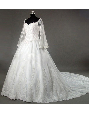 New Style Sleeve Ladylike and Elegant A-Line Sweetheart Chapel Satin Lace Beading with Embroider Dress for Bride/Bridal Gown