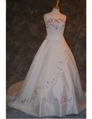 Style Fashionable and Exquisite A-Line Strapless Court train Satin Embroider Dress for Bride/Bridal Gown