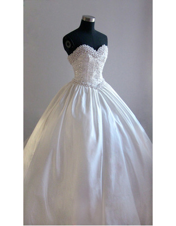 Style Fashionable and Exquisite Ball-Gown Sweetheart Court train Satin Beading Dress for Bride/Bridal Gown