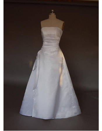 Style Simple but Elegant A-Line Strapless Sweep train Satin Lace Dress for Bride/Bridal Gown