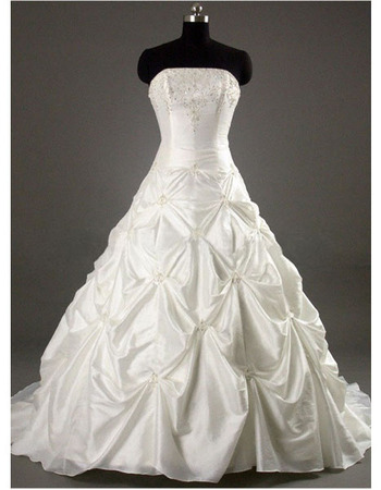 Style Elegant and Fashionable A-Line Strapless Court train Satin Taffeta Beading Dress for Bride/Bridal Gown