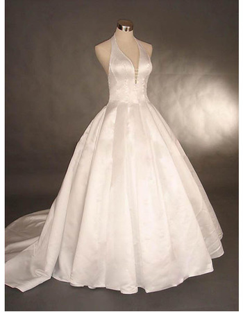 Style Sexy and Chic Charming Ball-Gown V-Neck Chapel Satin Beading Dress for Bride/Bridal Gown