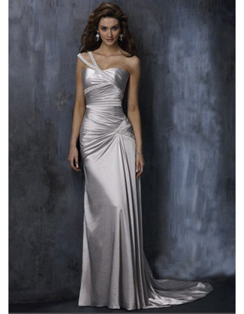 2011 Style Elegant Sheath One-Shoulder Floor Length Satin Bridesmaid Dresses, Prom Dresses - US$ 109.95 | eBuyWedding.com