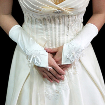 Satin Ivory Wedding Gloves with Applique and Beading