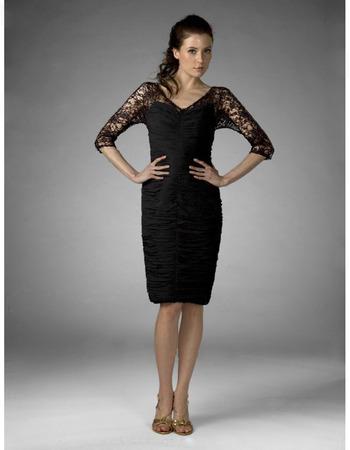 Sheath/ Column V-neck Knee-length Illusion Chiffon Lace Mother of the Bride Dress