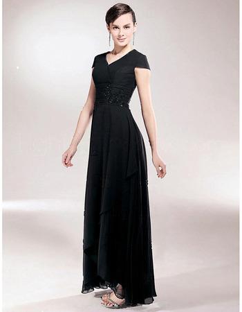 Sheath/ Column V-Neck Asymmetric Elastic Woven Satin Chiffon Mother of the Bride Dress