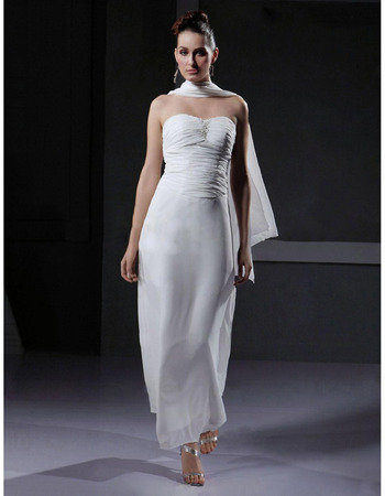 Column/Sheath Strapless Ankle-length Satin Wedding Dress - US$ 89.95 | eBuyWedding.com