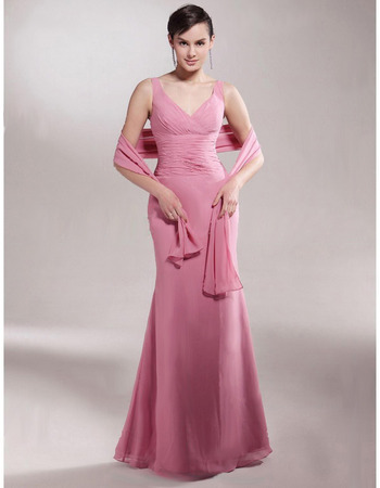 Elegant Long Mermaid V-Neck Chiffon Mother of the Bride/ Groom Dresses with Wraps