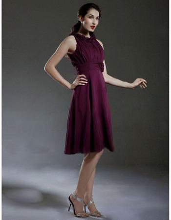 2018 Style Custom Sleeveless Knee Length Chiffon Bridesmaid Dresses