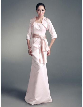 Discount Mermaid Mother of the Bride Dresses with Jackets/ Floor Length Satin Pearl Pink Mother of the Groom Dresses