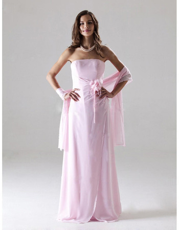 Discount Sheath Chiffon Bridesmaid Dresses, Elegant Floor Length Pink Wedding Party Dresses - US$ 109.95 | eBuyWedding.com