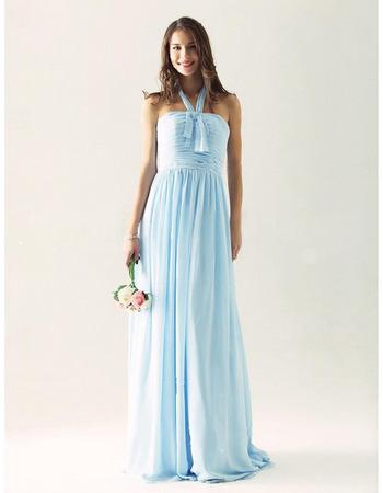 Elegant Halter Long Chiffon Fall Bridesmaid/ Wedding Guest Dresses