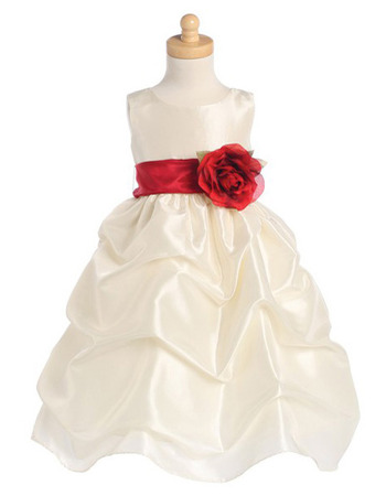 2016 Adorable Taffeta Pick-Up Skirt First Communion Dresses with Belts