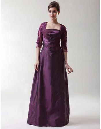 A-Line Long Evening Dress with Jacket/ Strapless Taffeta Prom Dress