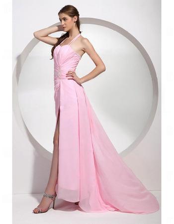 Sheath Chiffon Evening Dress/ Long Pink Evening Dress