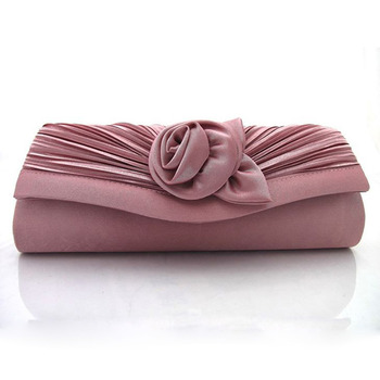 Satin Evening Handbags/ Clutches/ Purses with Flower