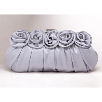 Silk Evening Handbags/ Clutches/ Purses with Flower