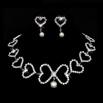 Crystal and Pearl Earring Necklace Set Wedding Bridal Jewelry Collection