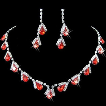 Red Crystal Earring Necklace Tiara Set Wedding Bridal Jewelry Collection