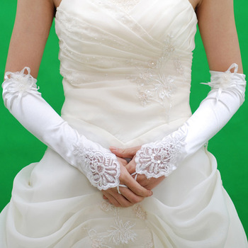 Elbow Ivory Satin Hollow Out Wedding Gloves with Flower and Embroidery