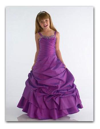 Gathered Skirt Full Length Taffeta Flower Girl Dresses/ Holiday Dresses - US$ 73.95 | eBuyWedding.com