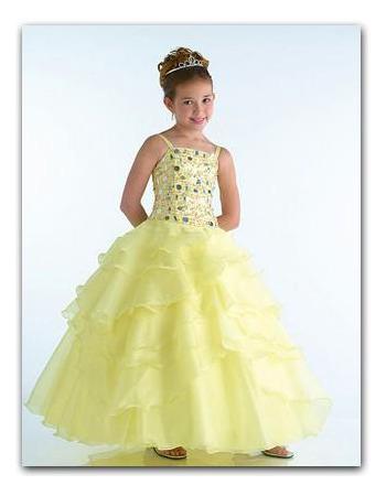 Layered Daffodil Easter Girls Dresses/ Pretty Organza Flower Girl Dresses