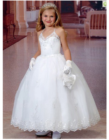 Custom Ball Gown Spaghetti Straps First Communion Dresses with Jackets