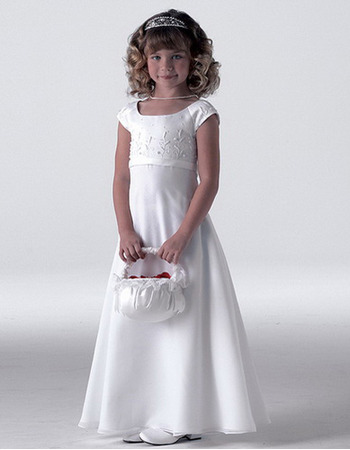 Pretty Ivory Cap Sleeves First Communion Dresses, Flower Girl Dresses - US$ 68.95 | eBuyWedding.com