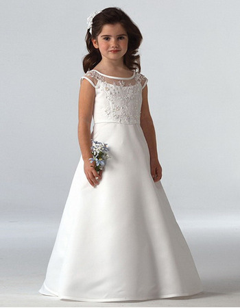 Affordable A-Line Floor Length Satin First Holy Communion Dresses