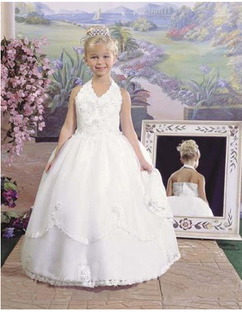 Inexpensive Ball Gown Halter Full Length First Holy Communion Dresses