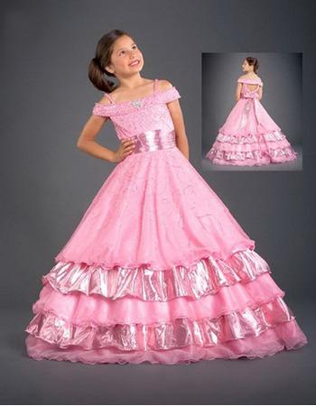 Taffeta Layered Sash Pink Easter Girls Dresses/ Flower Girl Dresses