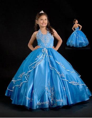 Ball Gown Applique Layered Easter Girls Dresses/ Flower Girl Dresses