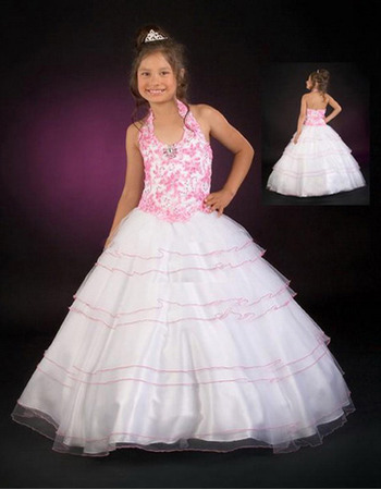 Full Skirt Applique Layered First Communion Dresses/ Flower Girl Dresses
